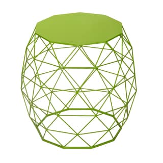 Adeco Triangle Pattern Khaki Green Round Iron Table/ Stool