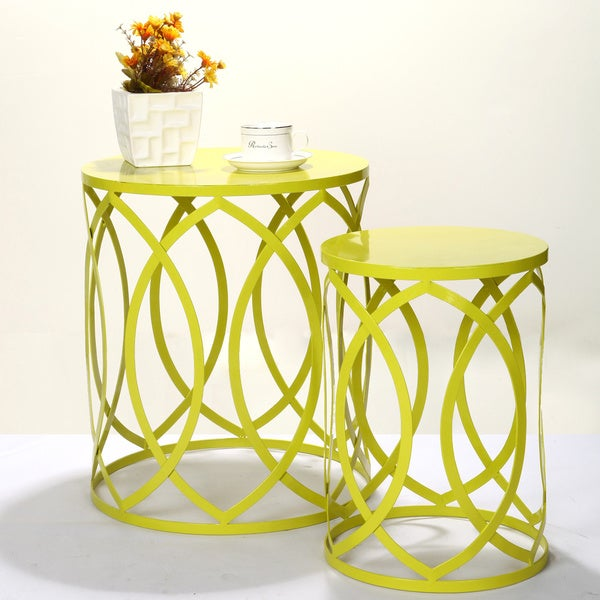 Adeco Interlocking Oval Pattern Light Yellow Green Round