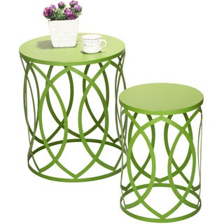 Adeco Interlocking Oval Pattern Khaki Green Iron Round Nesting Tables/ Stools (Set of 2)