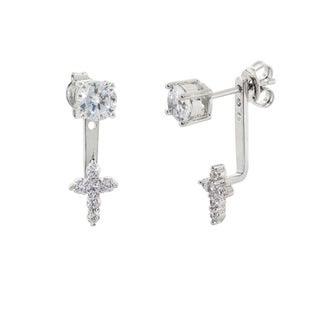 Eternally Haute 2ct TGW Cubic Zirconia Cross 'Front to Back' Cuff Earrings