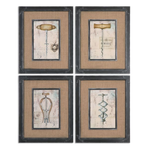 Uttermost 39 antique corkscrews 39 vintage framed canvas oil for Framed reproduction oil paintings