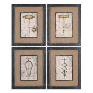 Uttermost 'Antique Corkscrews' Vintage Framed Canvas Oil Art Reproduction (Set of 4)