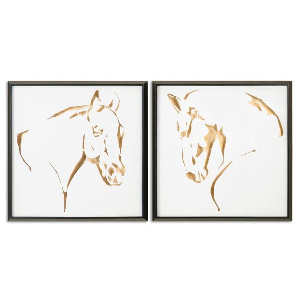 Framed Wall Art Set Of 2 uttermost 'golden horses' framed painted wall art (set of 2