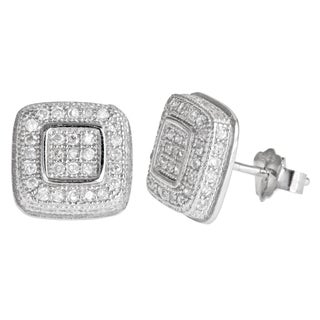 Decadence Sterling Silver Micropave Cubic Zirconia Cushion Stud Earrings