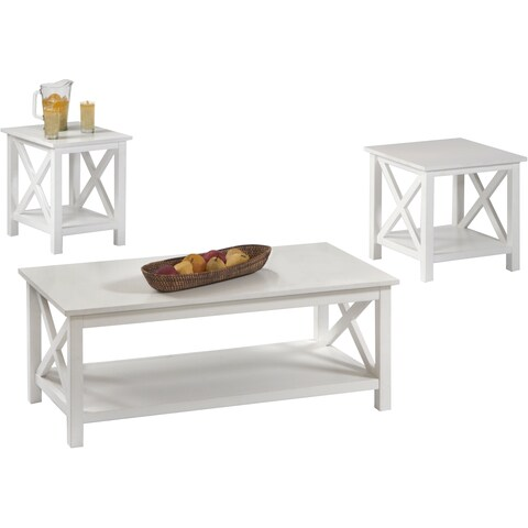 Seascape I Textured White 3-piece Table Set
