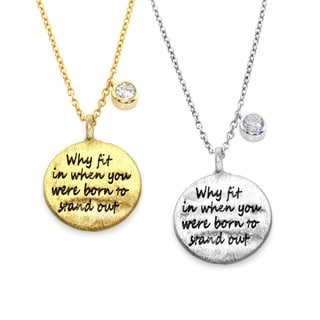 Eternally Haute Brass Cubic Zirconia 'Why Fit In' Text Necklace