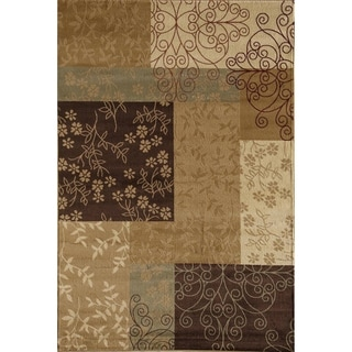 Bowery Contemporary Gold/ Brown Rug (5' x 8')