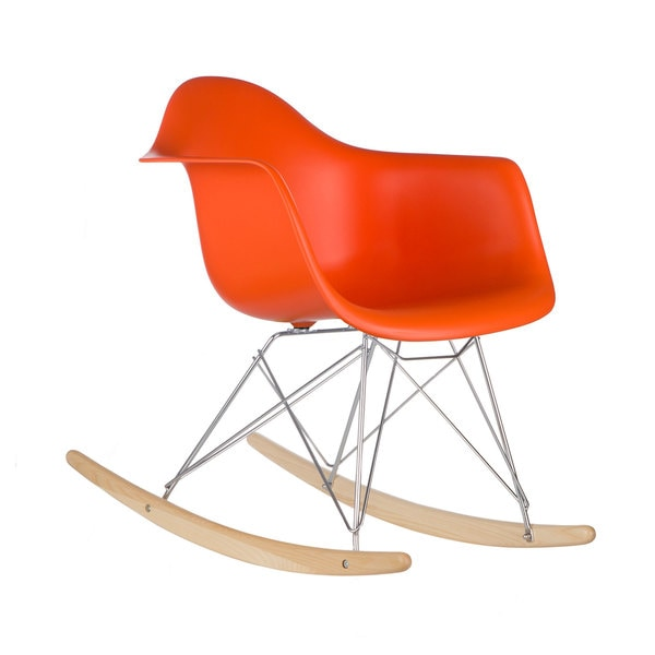 Poly and Bark Orange Rocker Lounge Chair Free Shipping