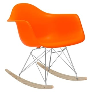 Poly and Bark Orange Rocker Lounge Chair