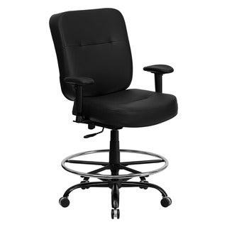 Offex Hercules Series Big and Tall Black Leather Drafting Stool with Arms and Extra Wide Seat