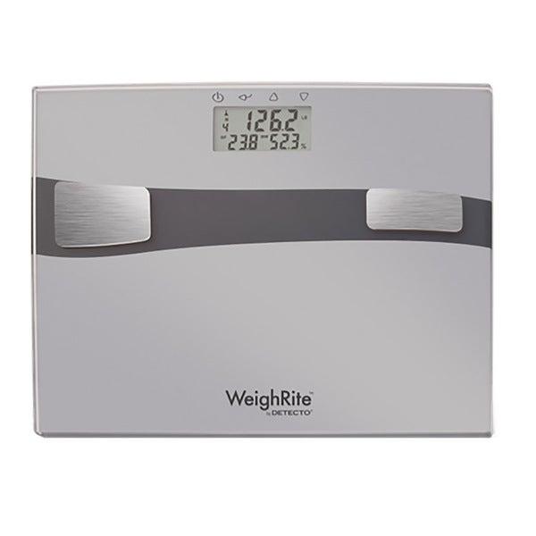 Detecto WeighRite Silver 5 in 1 Glass Body Composition Bathroom Scale. Detecto WeighRite Silver 5 in 1 Glass Body Composition Bathroom