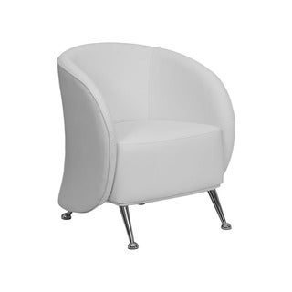 Offex Leather Reception Jet Chair (White)
