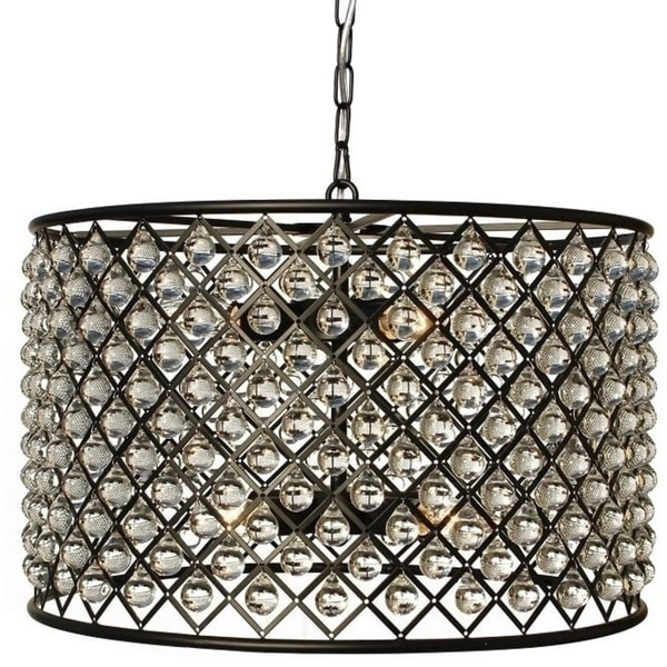 Shop cassiel black drum crystal chandelier free shipping today cassiel black drum crystal chandelier aloadofball Images