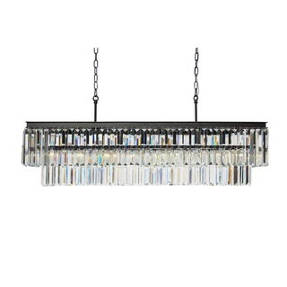 D'Angelo 40-inch Wrought Iron Rectangular Fringe Crystal Chandelier