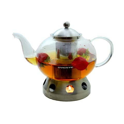Ovente FGD51T Glass Tea Pot with Warmer