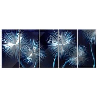 'Dandelions On Blue' Metal Wall Art