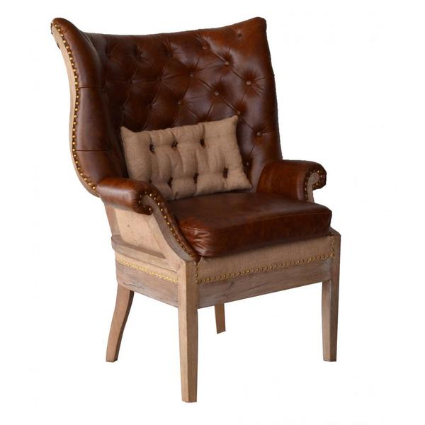 Shop Huntley Leather Wing Back Chair Free Shipping Today