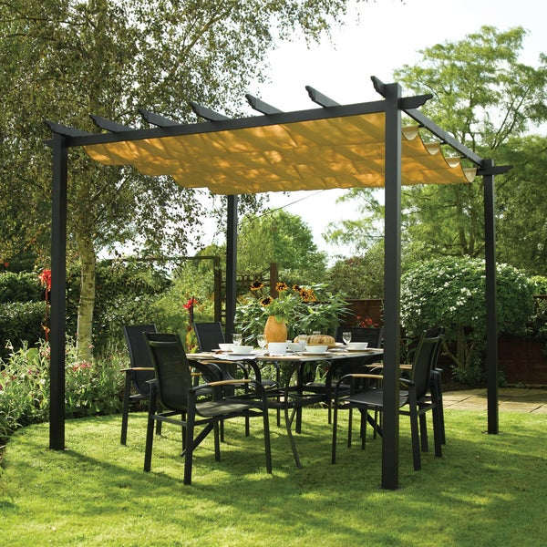 English Garden Aluminum Free-standing Retractable Canopy ...