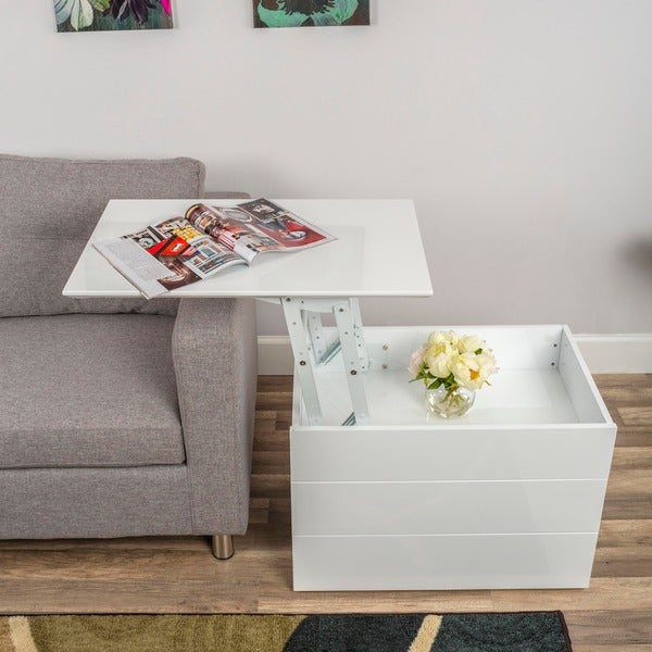 High Gloss White Lacquer Lift Top Hidden Storage 2 Drawer