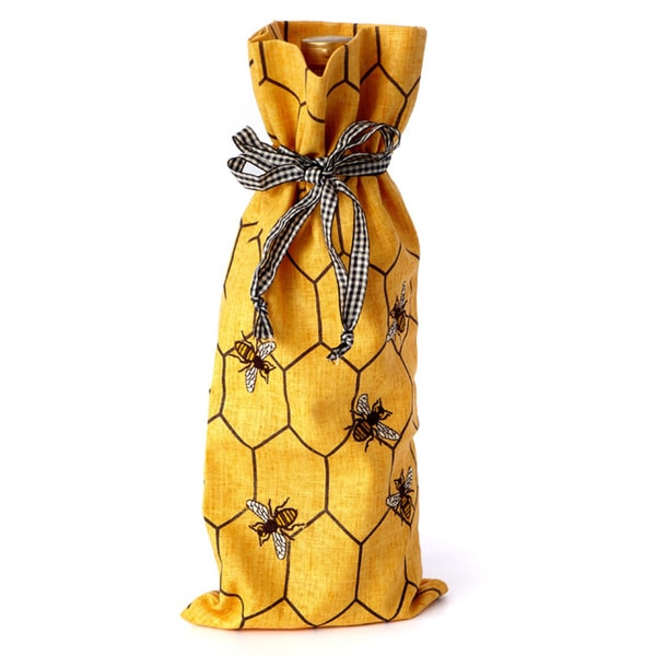 Honey Bee Embroidered Wine Bags (Pack of 12)