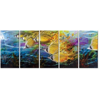 Metal Artscape 'Golden Jetstream' 5-panel Metal Wall Art