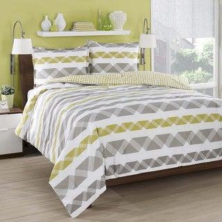 City Loft Orgami Stripe Cotton Reversible 3-piece Comforter Set
