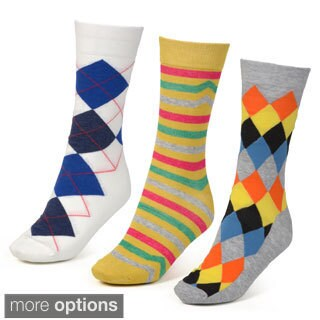 Vance Co. Men's Set of 3 Cotton Blend Socks