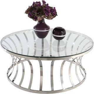 Somette Double Ring Glass Cocktail Table