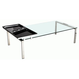 Somette Rectangle Glass Top Modern Cocktail Table with Motion Tray