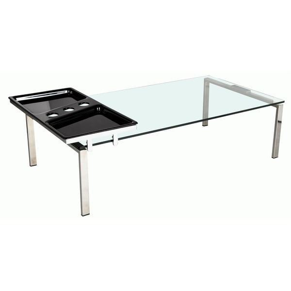 shop somette rectangle glass top modern cocktail table with motion tray free shipping today. Black Bedroom Furniture Sets. Home Design Ideas
