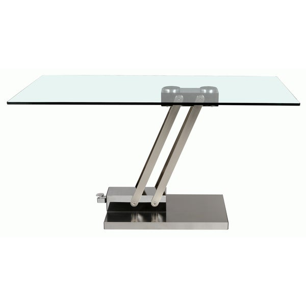 Somette Adjustable Height Glass And Chrome Cocktail Table   Free Shipping  Today   Overstock.com   16904372