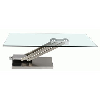Somette Adjustable Height Glass and Chrome Cocktail Table
