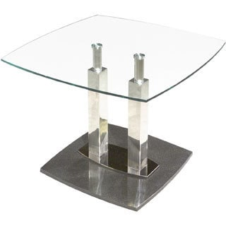 Somette Clear Glass and Marble Black Lamp Table