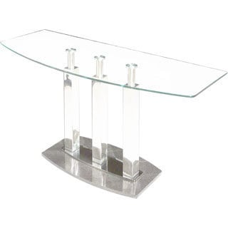 Somette Clear Glass/ Black 48-inch Marble Sofa Table