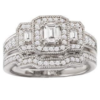 Avanti 14k White Gold 8/9ct TDW Triple Halo Diamond Bridal Ring Set