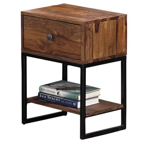 Akram Solid Dark Sheesham Wood 1 Drawer Accent Table