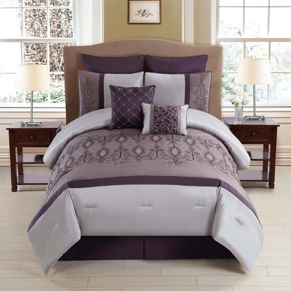 Journee Collection 8-piece Embroidered Comforter Set