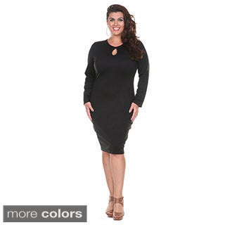 Stanzino Women's Plus Size Long Sleeve Knee Length Curvy Dress