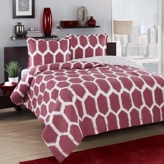 City Loft Honeycomb Red Reversible 3-piece Duvet Cover Set