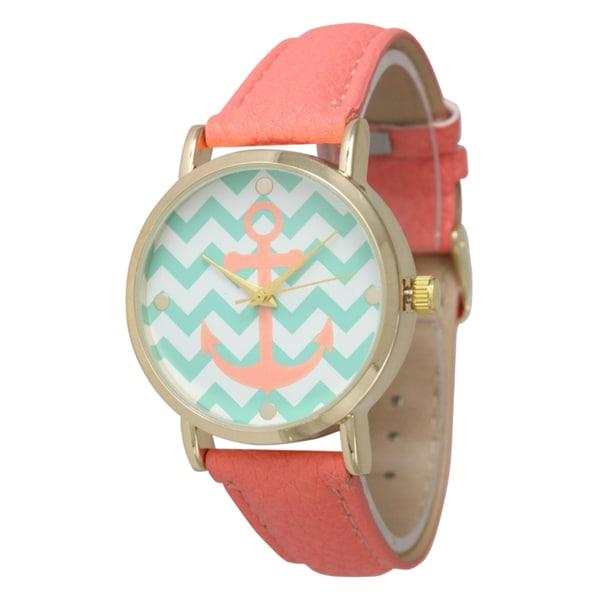 Olivia Pratt Women's Chevron Anchor Leather Strap Watch