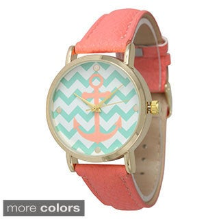 Olivia Pratt Women's Chevron Anchor Leather Strap Watch