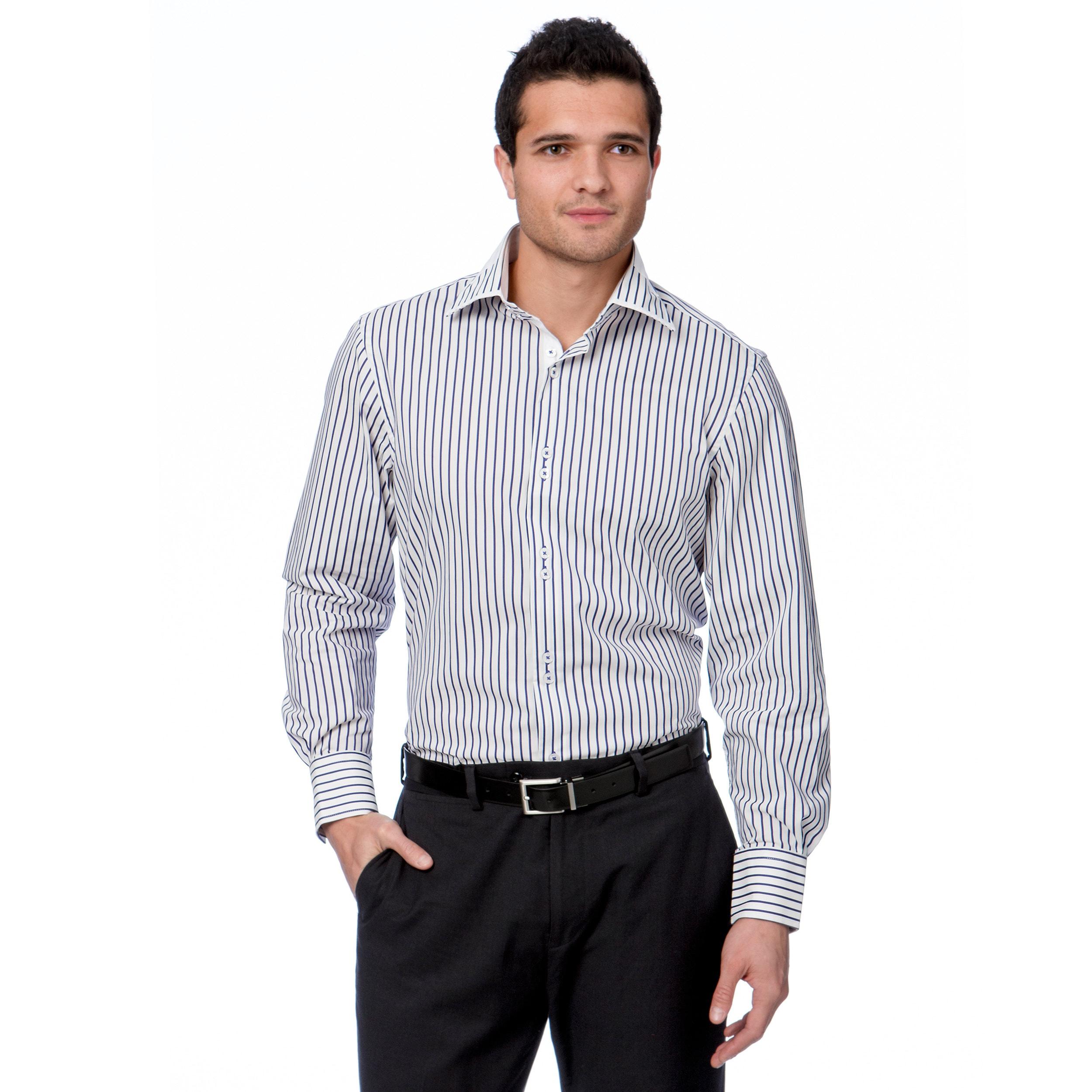 308d0bcd6a Shop Brio Milano Men's White/ Purple Button Down Dress Shirt - On ...