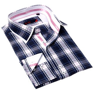 Domani Blue Luxe Men's Navy/ Pink Button Down Dress Shirt
