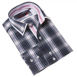 Domani Blue Label Men's Navy/ Pink Button Down Dress Shirt (2 options available)