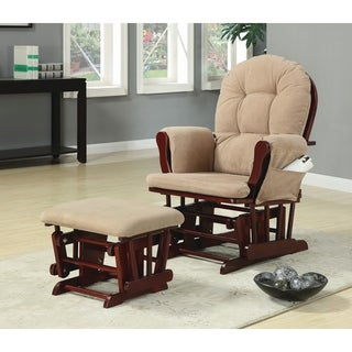 Coaster Brown Microfiber Glider Recliner Chair with Matching Ottoman