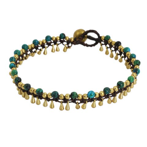 Handmade Brass 'Green Dancer' Anklet (Thailand)
