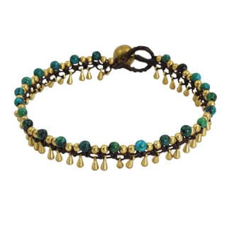 Handcrafted Brass 'Green Dancer' Anklet (Thailand)