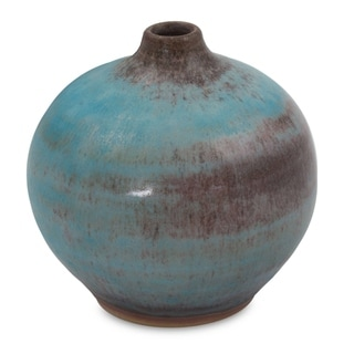 Turquoise Realm Mid Century Asian Style Turquoise Blue with Brown Undertones Suitable for Flowers Ceramic Bud Vase (Thailand)