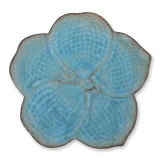 Celadon Ceramic 'Turquoise Vanda' Serving Plate (Thailand)