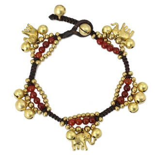 Handmade Carnelian 'Fortune's Melody' Charm Bracelet (Thailand)